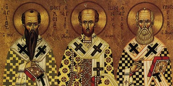 Sfinţii Trei Ierarhi: Vasile cel Mare, Grigorie Teologul şi Ioan Gură de Aur