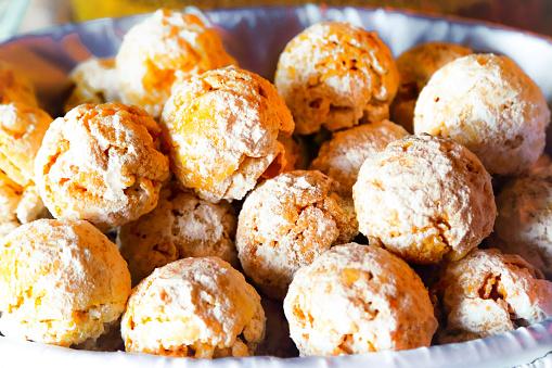 Herovke, traditional eastern Europe sweet ball shaped cookies