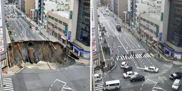 Japonezii au astupat în doar o săptămână o groapă gigantică apărută subit într-o intersecţie