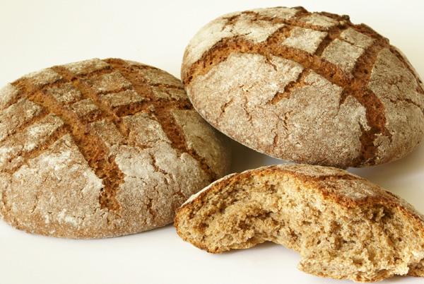dark bread on white